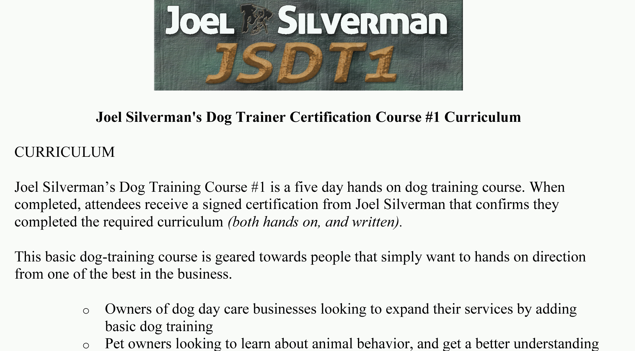 JSDT1 - Curriculum Download Page