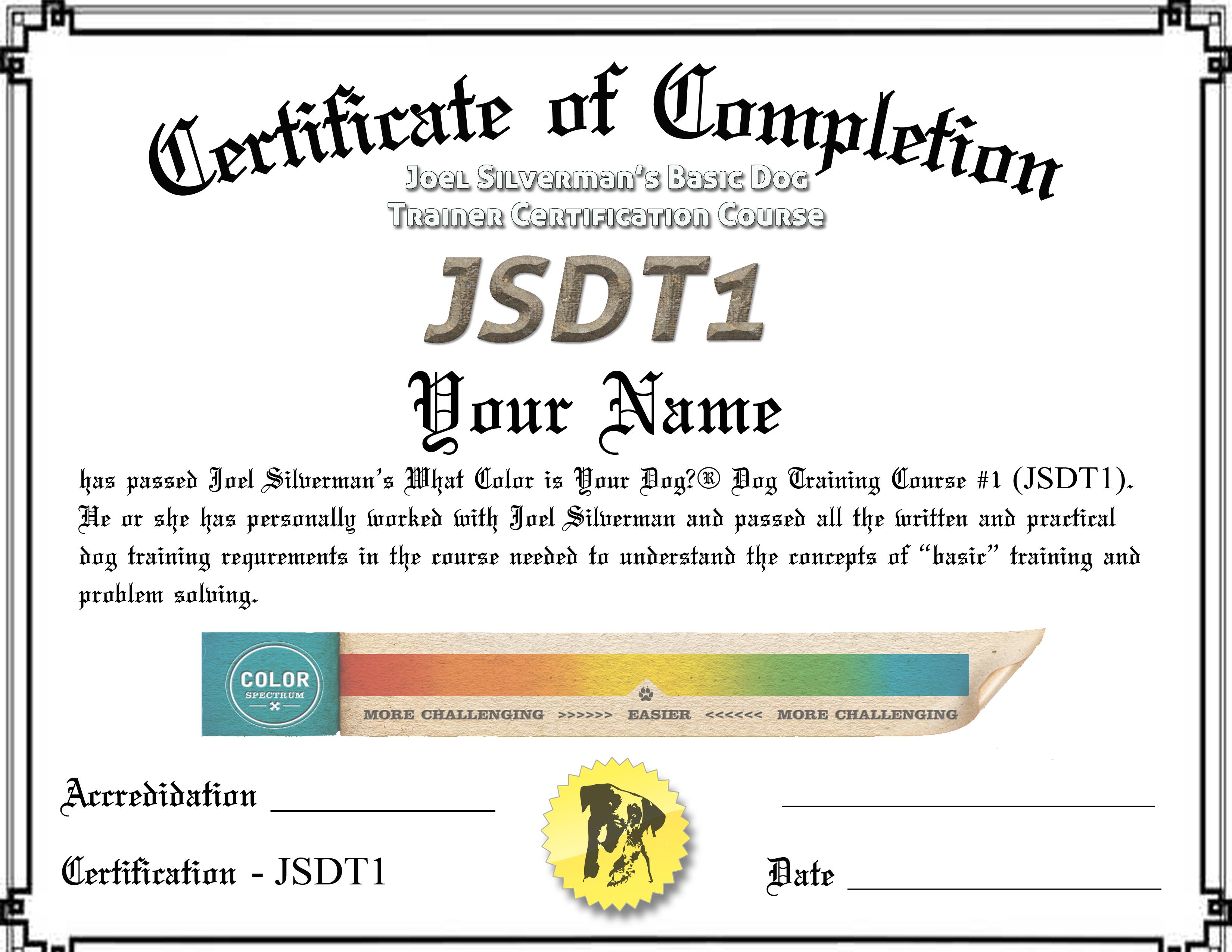 Joel Silverman's dog trainer certification course certification